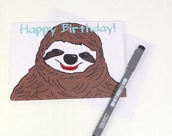 sloth birthday card  etsy, Birthday card