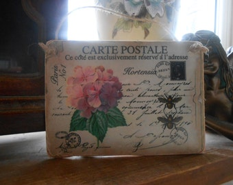 hanging wood sign paris carte postale flowers bumble bees french shabby chic decor handmade