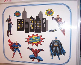 "Superhero Theme Party place mats- set of 8-11x0"" each-Theme party"