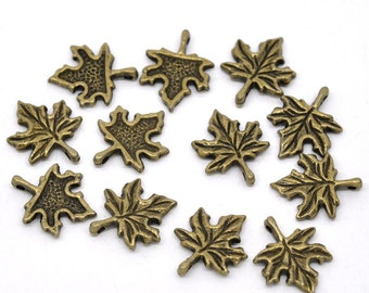 5 Antiqued Bronze Maple Leaf Charms