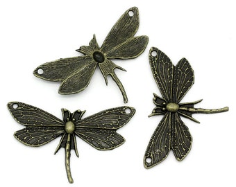 2 Antiqued Bronze Dragonfly Connectors