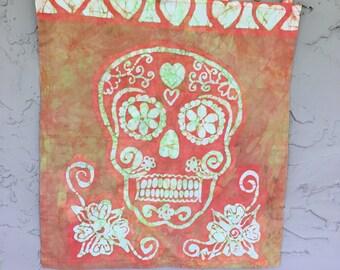 Batik Wall hanging skull - Perfect for Halloween- Orange funky sugar skull