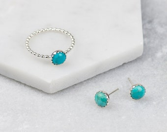 turquoise - sterling silver turquoise gemstone stud earrings and ring set