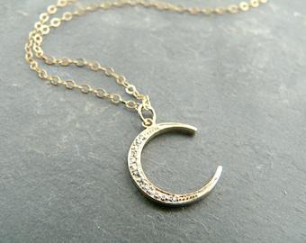 Crescent Moon + Rhinestone Gold Necklace