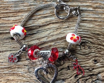 deer anniversary Heart bracelet with Browning deer head in red: love bracelet with deer buck and hearts, anniversary bracelet, Mothers Day