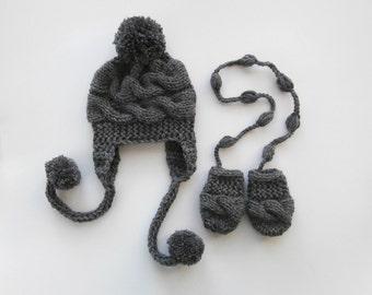 Newborn Baby Winter Hat and Mittens , Baby Boy Hat and Mittens  , Knit Baby Hat and Mittens for Baby