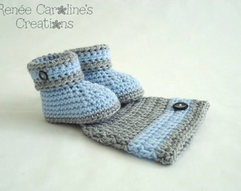 Blue and Grey Crochet Baby Boy Button Hat and Booties - Please Select Size