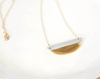 Half-Moon(1.75Inches) Shaped Necklace in 18K Gold Luster Overglaze and Midnight Blue glaze on Ceramic Stoneware - Includes Chain