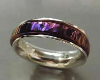Titanium spinner ring, Narrow Silver and Titanium Spin ring, Argentium sterling silver and titanium spinner ring - Made to order