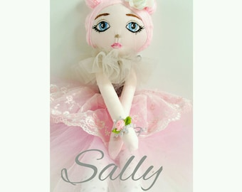 "Stunning ballerina cloth ""Priny"" doll, Sally. In soft pink and greys. With lace and tulle."