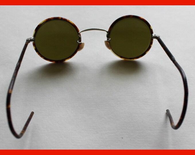 1930s Steampunk Sunglasses Teashades New Vintage WW2 USSR Bakelite Green Round Lens Thanksgiving Day Christmas Gift