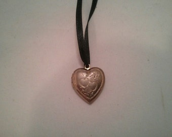 Upcycled Silver color Metal Heart Locket with Black Satin Ribbon