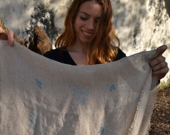 Handprinted linen scarf / wrap / stole Branches and small leaf