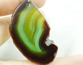 55mm  Green and Black,  Agate, Druzy, 55mm Gemstone Pendant Bead
