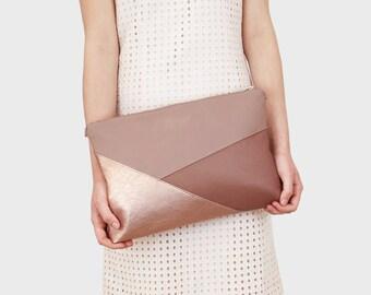 Greta - pink geo shoulder bag | Rosé gold