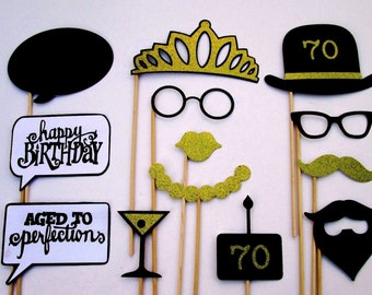 70th Birthday Party Photo Booth Props in Black and Gold Glitter Paper!