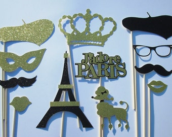 Paris Photo Booth Props-Black & Gold, Great for Mustache Party, Bridal Shower, Wedding Shower, Baby Shower