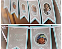 Winter ONEderland/Wonderland 1st Year Photo Memory Banner. Party Decor by Charming Touch Parties. Fully assembled and customizable. Boy/aqua