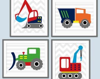 Boys Construction Nursery, Digger, Truck, Tractor, Construction Prints, Chevron, Truck Nursery, Toddler Bedroom Decor, Playroom Art