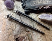 Coffin Nail Macabre Antique Iron Earrings Goth Funeral Casket Spike Metal 19th Century Death Spooky