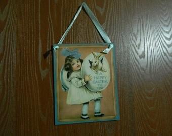 "8"" x 10"" Wood Wall Plaque Girl Easter Egg + White Bunny Rabbit"