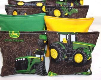 8 ACA Regulation Cornhole Bags - John Deere Tractors on Green and Yellow
