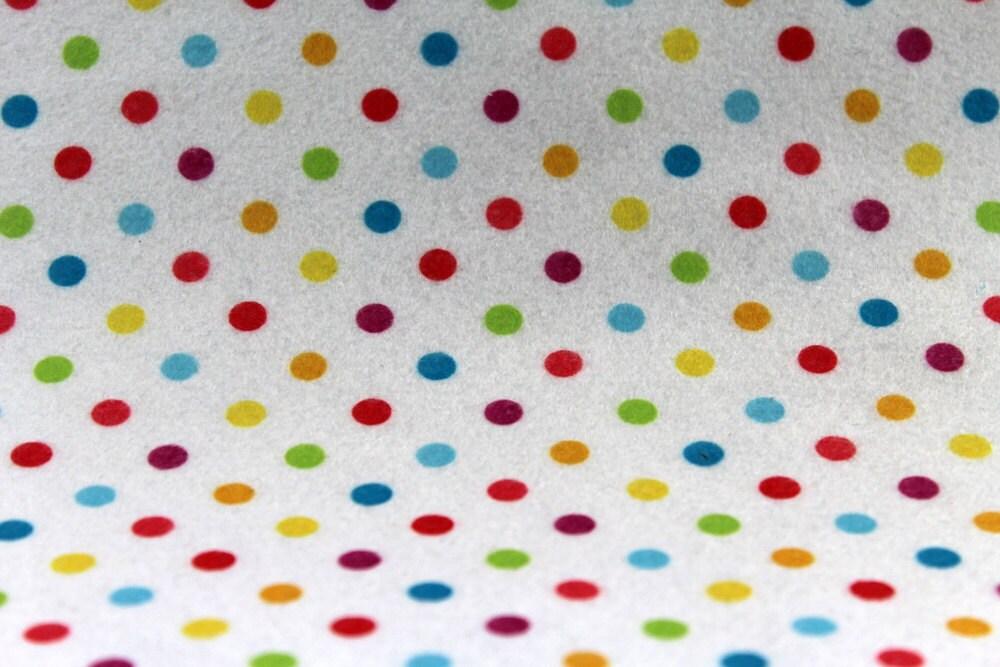 Multicolored polka dot print felt fabric sheets by for Polka dot felt fabric