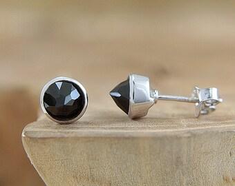 Sterling silver Black spinel earrings Black stud earrings Spike earrings 6 mm gemstone studs Modern edgy jewelry