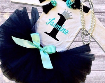 Breakfast at Tiffany's Birthday Outfit, Audrey Hepburn Birthday, Any Birthday Age Available 1st-6th, Tutu Birthday Outfit, Short or Long Slv