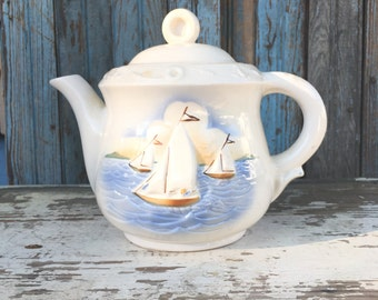 Vintage Teapot With Sailboats