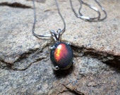 Ethiopian, Smoked Black Opal Necklace,Black Opal Necklace, Fine Jewelry, Sterling Silver Necklace, October Birthstone,  Opal Necklace