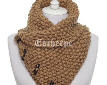 The Boston Cowl Hand Knit Bulky Camel Cowl Knitted Scarf Woman Man Fall Winter Accessory Chunky Neckwarmer 4 Button Cowl Christmas Gift Idea