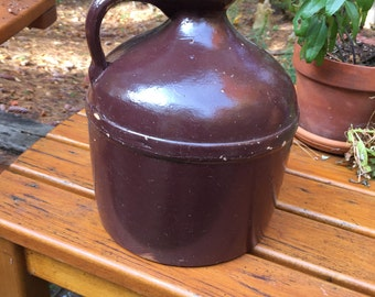 Vintage  Brown Jug with Spout and Handle