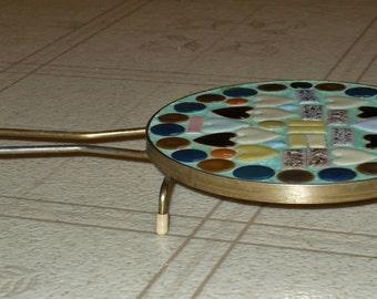 Vintage Mosaic Tile Trivet - Colorful Hearts & Circles!