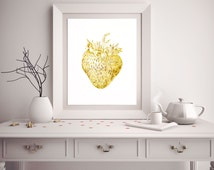 Strawberry Art Print - Gold Foil Strawberry - Strawberry Decor - Kitchen Decor - Kitchen Art Print - Wall Art - White and Gold Decor