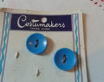Vintage Blue Buttons New On Card By Costumakers Vintage Sewing Notions Carded Buttons