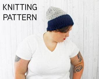 Madeline Hat, Color Block Knit Hat Pattern, Instant Download