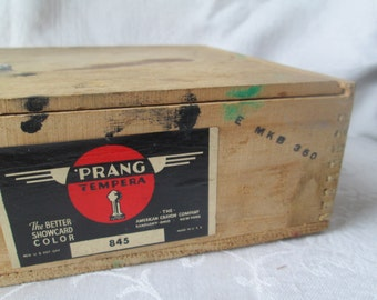Vintage Prang Tempera Paint Set in Wooden Dovetailed Box with Slide Lid