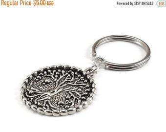 On Sale Tree of Life Keychain Silver Metal Key Ring