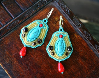 Turquoise Red Bead Embroidery Earrings Bead Embroidered Earrings Beadwork Multicolored Earrings Bead Embroidered jewelry Seed Bead Earrings