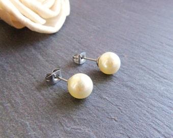 Cream pearl stud earrings, large pearl post earrings, Swarovski Elements, surgical steel earrings, 8mm pearl earrings, bridal jewelry