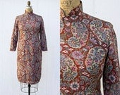 VINTAGE 1970s cheongsam dress | Mandarin collar oriental dress | Tailored asian dress | Ethnic floral dress