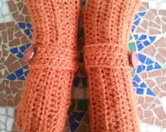 Crochet Fingerless Gloves-Thick and Cozy Apricot