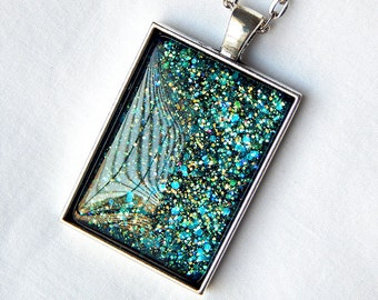 Teal Green Necklace; Rectangle Glass Pendant; Nail Polish Jewelry; Dark Teal Pendant; Glass Cabochon Necklace; Hand Painted Glass Jewelry