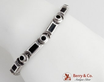 Exclamation Mark Tennis Bracelet Sterling Silver Onyx