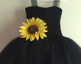 Black Tulle and Sunflower Dress, tulle dress , black dress, black tulle party dress, sunflower wedding