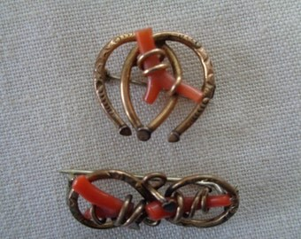 Victorian Gold and Coral Brooches
