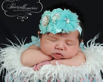 Aqua Headband/Baby Headband/Baby Girl Headband/Newborn Headband/Baby Shower Gift/Girls Headband/Girl Headband Baby/Baby Headbands and Bows