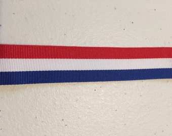"""5 Yards 7/8"""" Grosgrain Ribbon  Red, White, and Blue Stripe"""