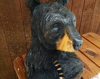 Bear Chainsaw Carving, Bear Wood Sculpture, Bear Wood Carving, Handmade Woodworking, by Josh Carte, Art, Unique Wood Gift, Art, Black Bear